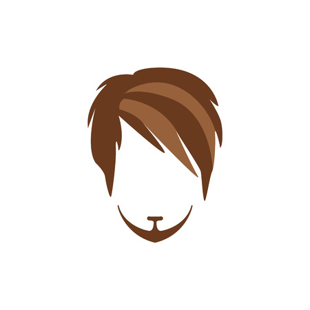 Hipster Male Hair and Facial Hair Style With Side Fringe And Goatee.Hair, Beard And Moustache Style Design Template Illustration