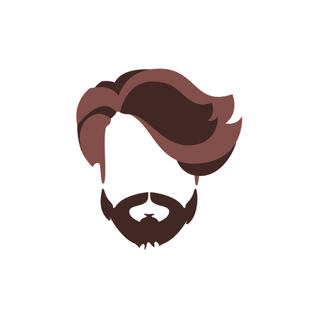 Hipster Male Hair and Facial Hair Style With Volume Fringe.Hair, Beard And Moustache Style Design Template