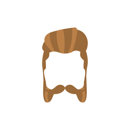 Hipster Male Hair and Facial Hair Style With Mutton Chops.Hair, Beard And Moustache Style Design Template Illustration