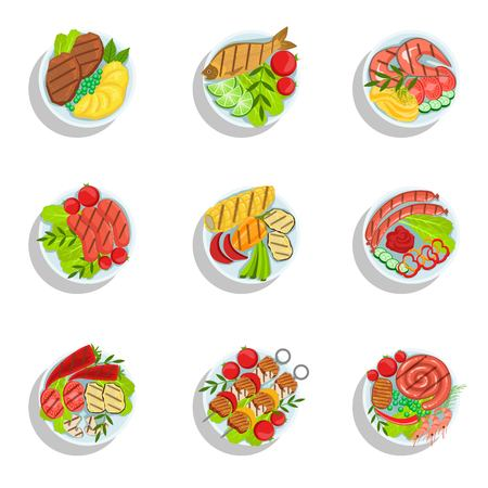 from above: Oktoberfest Grill Set Of Food Plates Illustrations From Above. Beer Festival Classic Bbq Food Isolated Menu Items On White Background. Illustration