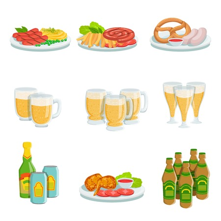 Oktoberfest Grill Set Of Food Plates And Beers Illustrations. Beer Festival Classic Bbq Food And Drinks Isolated Menu Items On White Background. Vetores