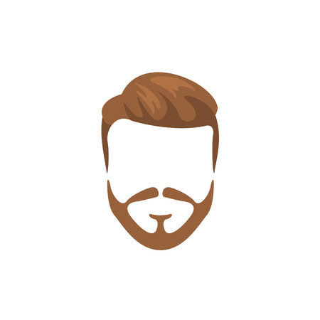 Hipster Male Hair and Facial Hair Style With Full Beard.Hair, Beard And Moustache Style Design Template