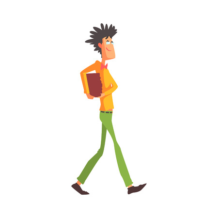 cool guy: Flamboyant Know-it-all Guy Character Carrying Books. Graphic Design Cool Geometric Style Isolated Drawing On White Background Illustration