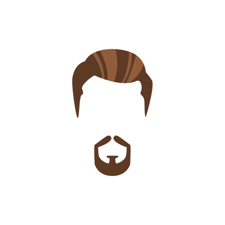 Hipster Male Hair and Facial Hair Style With Circle Beard.Hair, Beard And Moustache Style Design Template Illustration