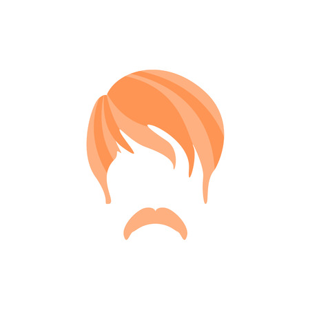 Hipster Male Hair and Facial Hair Style With Hippie Moustache.Hair, Beard And Moustache Style Design Template Illustration