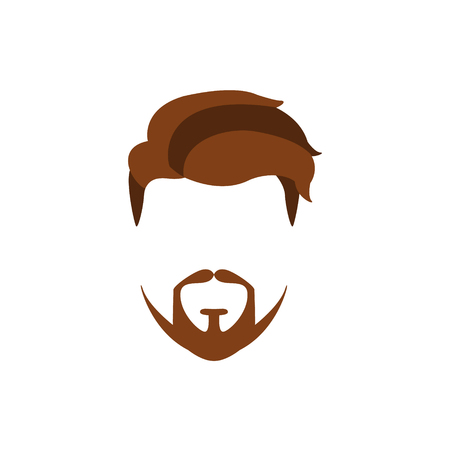 Hipster Male Hair and Facial Hair Style With Extended Goatee.Hair, Beard And Moustache Style Design Template Illustration