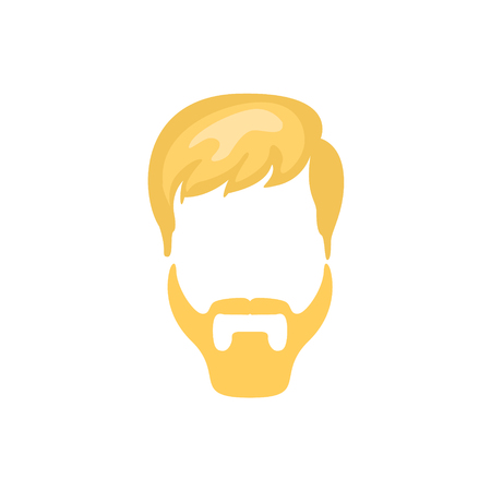 Hipster Male Hair and Facial Hair Style With Ducktail Beard.Hair, Beard And Moustache Style Design Template Illustration
