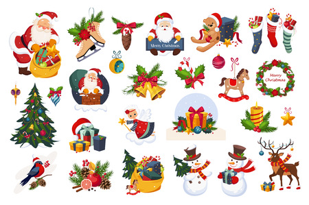 Classic Beautiful Christmas Stickers On White Background. Colorful Childish Detailed Drawings With New Year Holiday Elements.