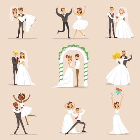 Newlyweds Posing Und Tanzen auf der Hochzeit Party Set Szenen. Nette Braut und Bräutigam Paare in der klassischen Outfits Einfache Vektor-Illustrationen auf rosa Hintergrund.