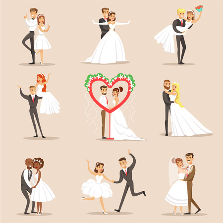 Happy Newlyweds On The Wedding Party Set Of Scenes. Cute Bride And Groom Couples In Classic Outfits Simple Vector Illustrations On Pink Background.