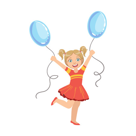 ponytails: Girl With Ponytails In Red Dress With Two Blue Balloons Simple Design Illustration In Cute Fun Cartoon Style Isolated On White Background Illustration