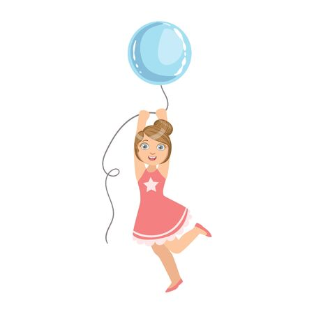 Girl Jumping Holding Big Blue Balloon Simple Design Illustration In Cute Fun Cartoon Style Isolated On White Background Illustration