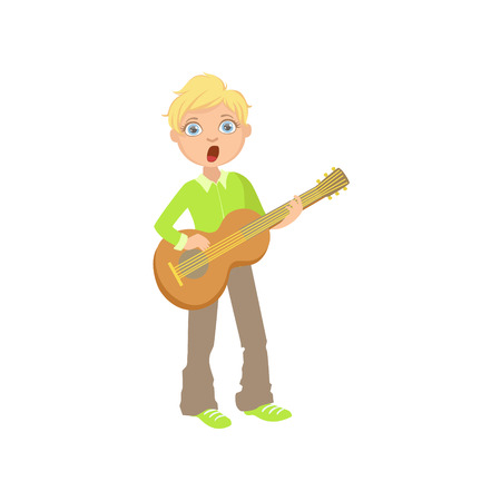 Boy In Green Shirt Playing Guitar And Singing. Simple Design Illustration With Kid Performing Musical Number In Cute Fun Cartoon Style Isolated On White Background Illustration