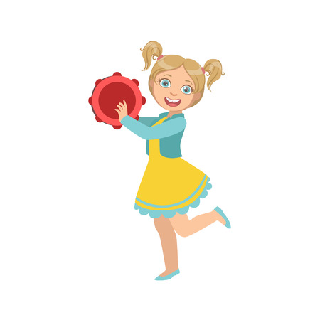 ponytails: Girl With Ponytails Playing Tambourine. Simple Design Illustration With Kid Performing Musical Number In Cute Fun Cartoon Style Isolated On White Background Illustration