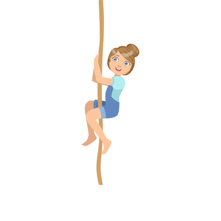 physical education: Girl Climbing A Rope As Physical Education Class Exercise Simple Design Illustration In Cute Fun Cartoon Style Isolated On White Background