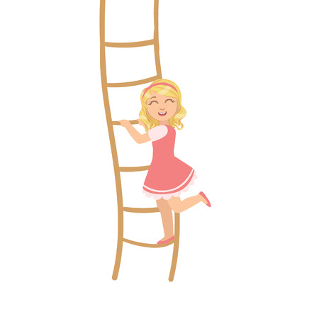 ladder: Girl In Pink Dress Climbing Rope Ladder Simple Design Illustration In Cute Fun Cartoon Style Isolated On White Background