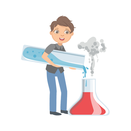 Boy In School Uniform With Giant Test Tubes Simple Design Illustration In Cute Fun Cartoon Style Isolated On White Background