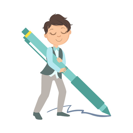 Boy In School Uniform With Giant Pen Simple Design Illustration In Cute Fun Cartoon Style Isolated On White Background