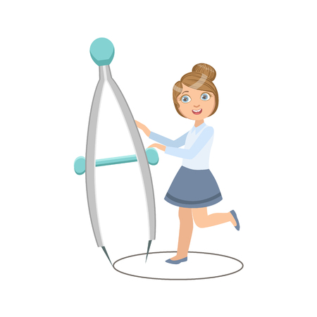Girl In School Uniform With Giant Compasses Simple Design Illustration In Cute Fun Cartoon Style Isolated On White Background
