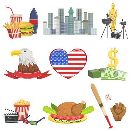 American National Symbols Set Of Items Isolated Objects