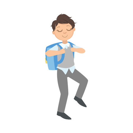 Boy In School Uniform And Backpack Going To Studies Simple Design Illustration In Cute Fun Cartoon Style Isolated On White Background Illustration