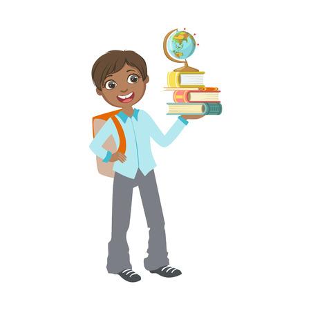 Junge in der Schuluniform mit Büchern und Illustration des Kugel-einfachen Designs in der netten Spaß-Karikatur-Art lokalisiert auf weißem Hintergrund