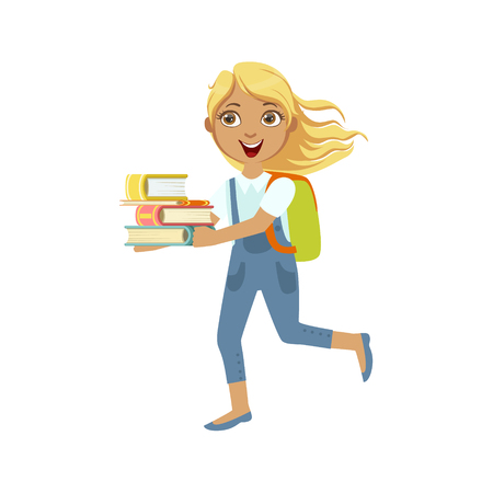 School Girl With Books Running To Class Simple Design Illustration In Cute Fun Cartoon Style Isolated On White Background Illustration