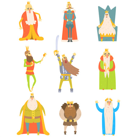 scepter: Fairy-Tale Kings Set Of Cartoon Fun Illustrations. Monarchs With Long Beards Childish Portraits Isolated On White Background.