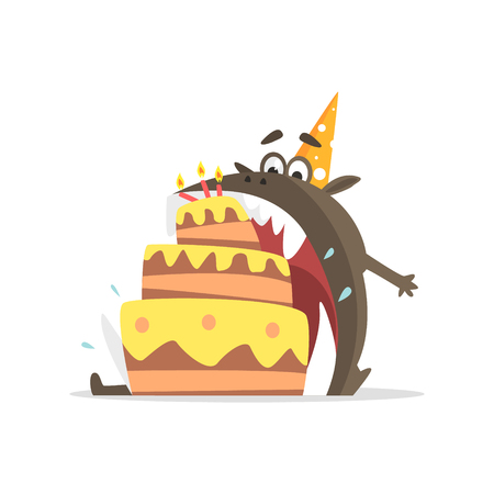 gulp: Black Monster Eating Party Cake In One Gulp Funky Creature Colorful Character With Party Attributes On White Background.