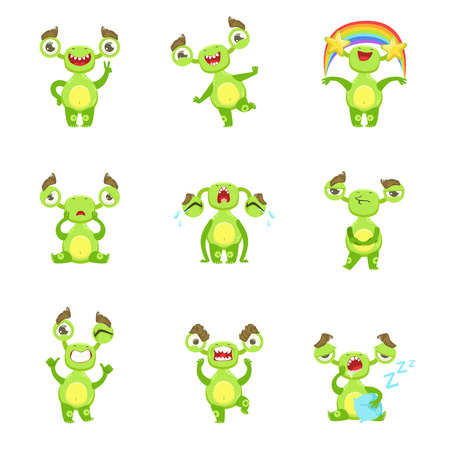 fantastic creature: Green Monster Character Different Emotions And Situations Set. Funny Childish Fantastic Creature Emoticon Icons On White Background.