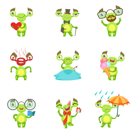 fantastic creature: Green Alien Character Different Emotions And Situations Set. Funny Childish Fantastic Creature Emoticon Icons On White Background.