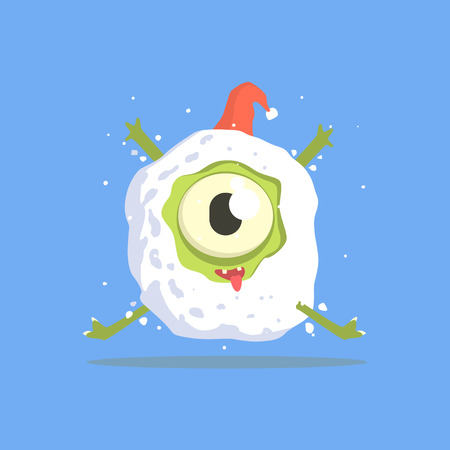 Green One-eyed Monster Trapped In Snowball. Funky Creature Colorful Character With Party Attributes On White Background.