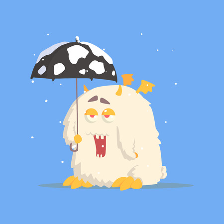 White Fluffy Monster With Tiny Wings And Umbrella In Winter. Funky Creature Colorful Character With Party Attributes On White Background. Illustration
