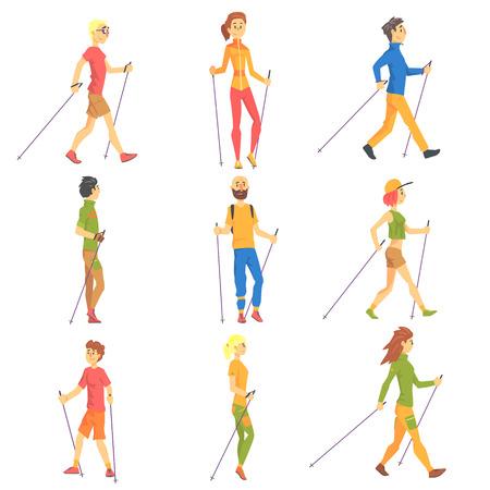 Mensen die Nordic Walk Outdoors Set illustraties. Finse lopen buiten de Cartoon Karakters lopen op een witte achtergrond.
