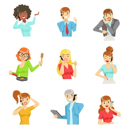 People Speaking On The Phone Set Of Illustrations. Men And Women Talking On Mobile Phone Colorful Vector Icons Isolated On White Background. 矢量图像