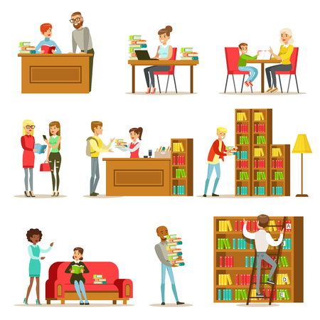 People Talking And Reading Books In Library Set Of Illustrations. Simple Cartoon Cute Stule Flat Vector Drawings On White Background. Ilustração