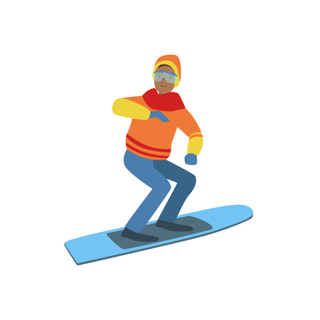Guy On Snowboard Winter Sports Illustration Isolated On White Background. Simplified Cartoon Character Vector Drawing. Illustration