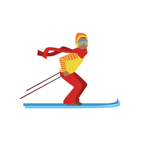 Guy On Mountain Skis Winter Sports Illustration Isolated On White Background. Simplified Cartoon Character Vector Drawing.