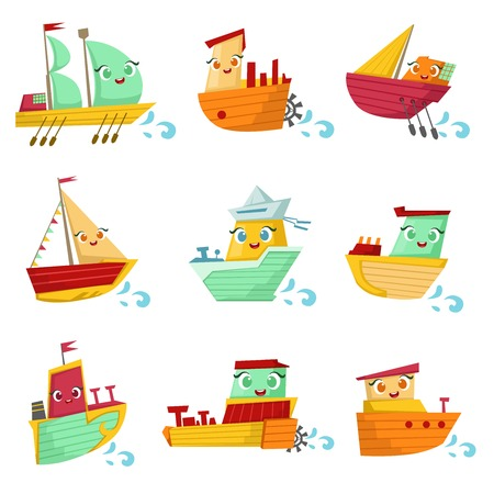 peddle: Toy Ships With Faces Colorful Illustration Set. Cartoon Cute Humanized Water Transport Characters Isolated On White Background.