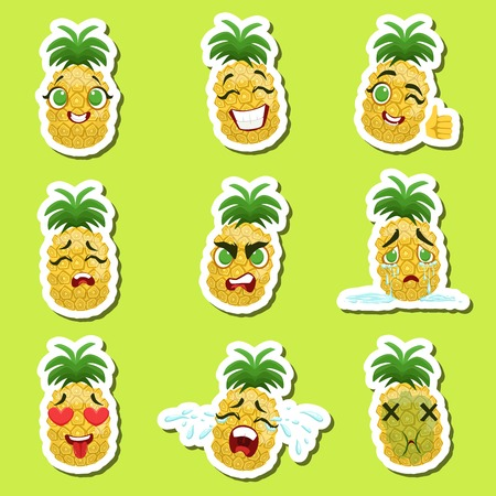 Pineapple Cute Emoji Stickers Set On Green Background. Humanized Character With Different Emotions Collection Of Isolated Icons In Colorful Design.