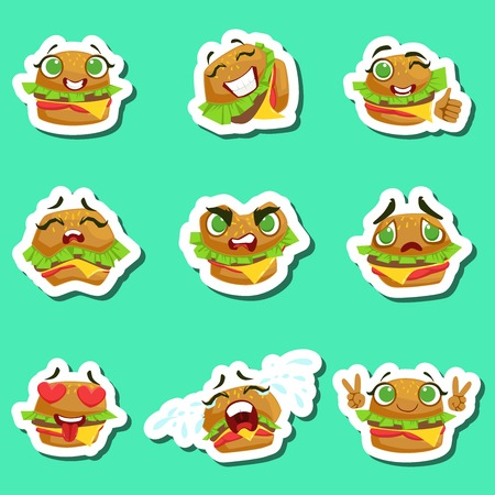 Burger Cute Emoji Stickers Set On Green Background. Humanized Character With Different Emotions Collection Of Isolated Icons In Colorful Design.