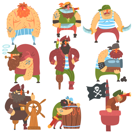 cutthroat: Scruffy Pirates Cartoon Characters Set. Cool Filibuster Cut-Throats Flat Vector Childish Illustrations Isolated On White Background