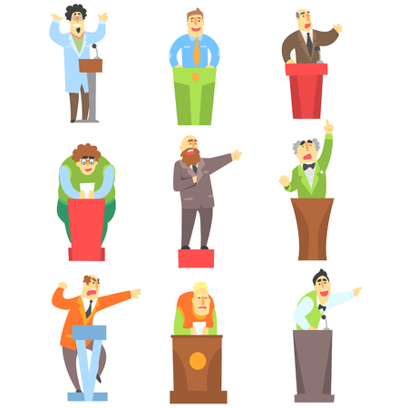 Men Speaking Publicly On Tribune Set Of Illustrations. Funny Simple Style Characters Lecturing And Doing Speeches Isolated Icons On White Background.