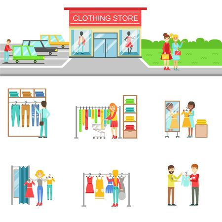 clothes rail: Clothing Store Exterior And People Shopping Set Of Illustrations. Flat Cartoon Minimalistic Vector Drawings On White Background. Illustration