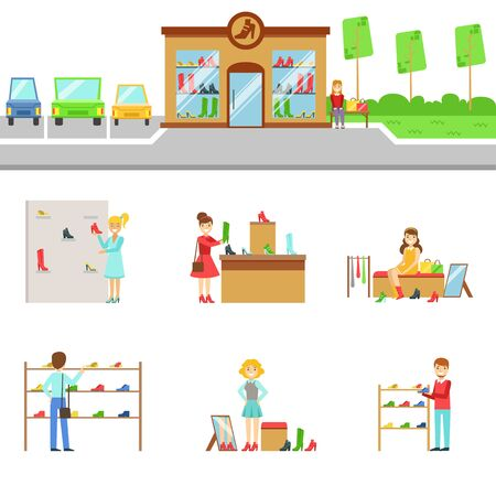 Footwear Store Exterior And People Shopping Set Of Illustrations. Flat Cartoon Minimalistic Vector Drawings On White Background. Illustration