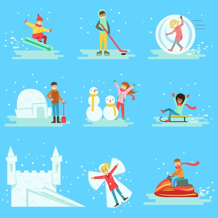 People Having Fun In Snow In Winter Collection Of Illustrations. Minimalistic Cartoon Drawings Of Different Winter Outdoor Activities On Blue Background.