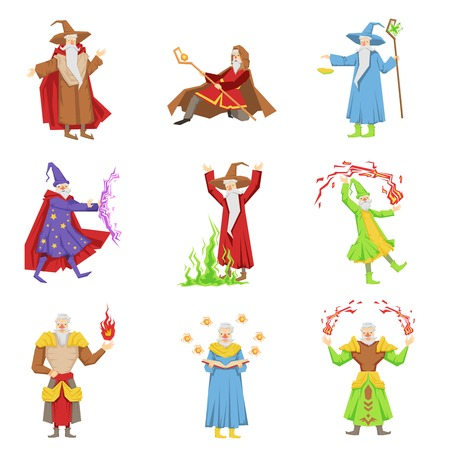 stargaze: Classic Fantasy Magicians Set Of Characters. Fairy Tale Mages Colorful Fun Vector Drawings On White Background. Illustration