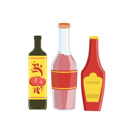 hot sauce: Ketchup, Soya And Hot Sauce Set Of Pizza Ingredients. Vector Illustration In Realistic Simplified Style. Isolated Objects On White Background.