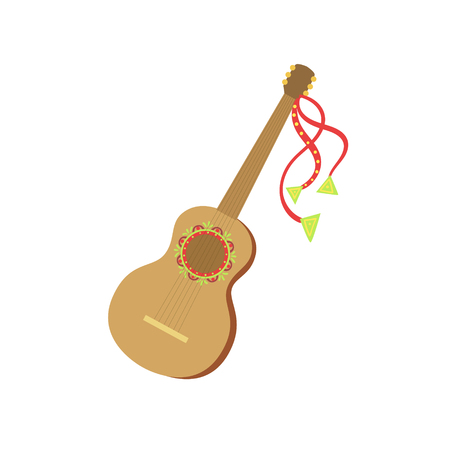 Guitar Mexican Culture Symbol. Isolated Bright Color Vector Object Representing Mexico On White Background