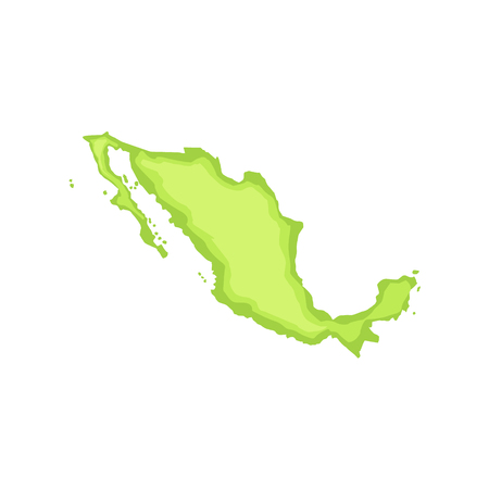 Map Of The Country Mexican Culture Symbol. Isolated Bright Color Vector Object Representing Mexico On White Background